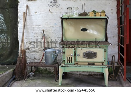 Old Wood Stove On A Farm In South Africa Stock Photo