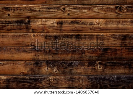 Old wood texture background. Dark brown wooden boards, planks. Surface of dark shabby weathered parquet, desk. Vintage pattern of rustic oak, table. Woody grunge surface, barn. Dirty grain timber, har