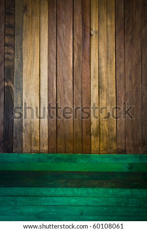 Old wood texture with natural patterns  and green wood texture with natural patterns