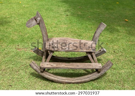 Old wood toys rocking horse chair children