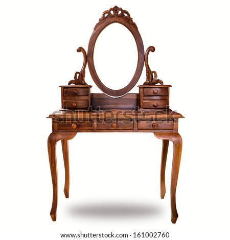 Old wood vanity table for a woman in the house