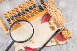 Old wooden abacus and magnifier with black plastic handle and cone and black pencil and red leaves and greece nut on burnt paper on cracked gray concrete