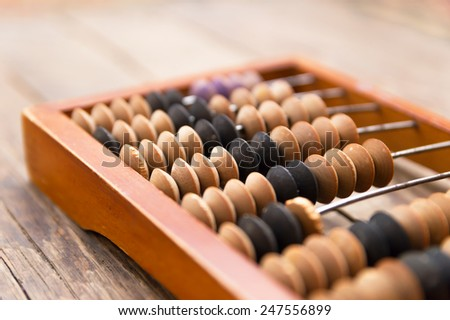 Old wooden abacus on wood background