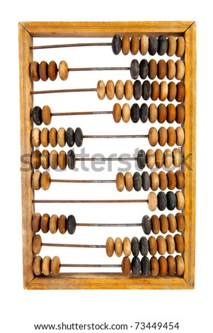 Old wooden abacus with a calculated sum, isolated, on a white background