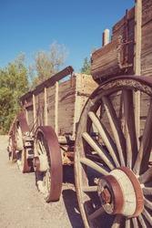 Old wooden american cart, vintage filter