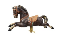 Old wooden and vintage Carousel Horse isolated on white with clipping path