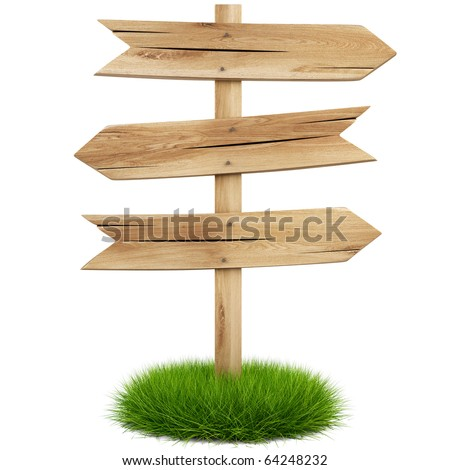 old wooden arrow on the grass isolated on white background including clipping path