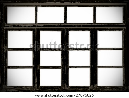old wooden barn grunge windows isolated on white
