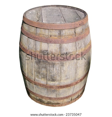 Old wooden barrel cask for whisky or beer or wine