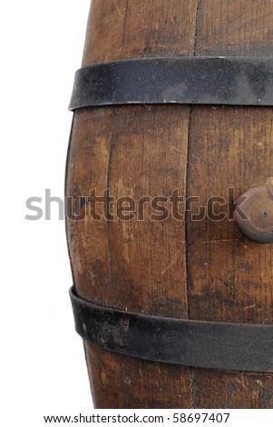 Old wooden barrel. Isolated on white background