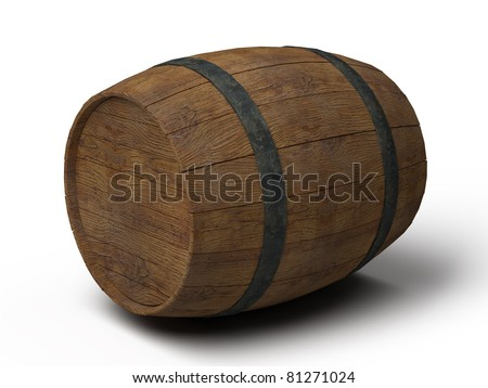 old wooden barrel on its side - 3d illustration isolated on white