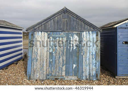 Old wooden beach hut on Hayling Island near Portsmouth, England