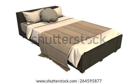 old wooden bed seperated on white background #264595877
