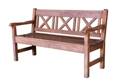 Old wooden bench isolated on white background with clipping path.