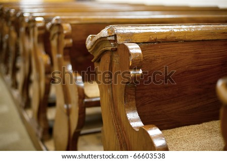 Old, wooden benches of church