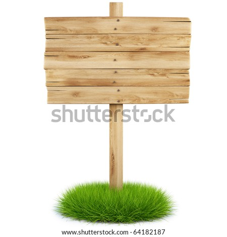 old wooden billboard on the grass isolated on white background including clipping path