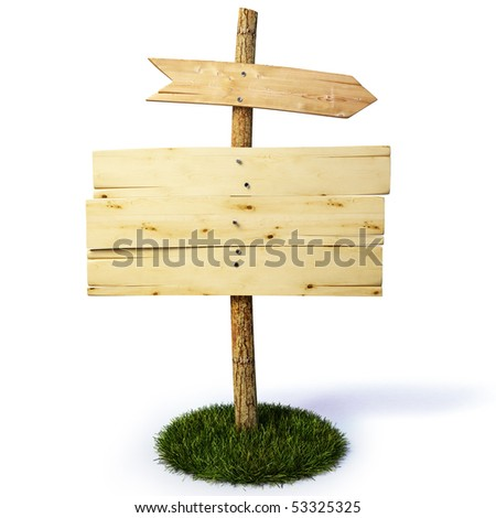 old wooden billboard with arrow. with clipping path.