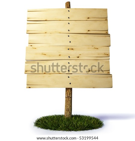 old wooden billboard. with clipping path.
