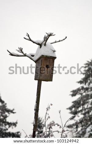 Old wooden birdhouse snow covered