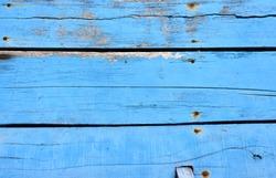 Old wooden blue boat floor background