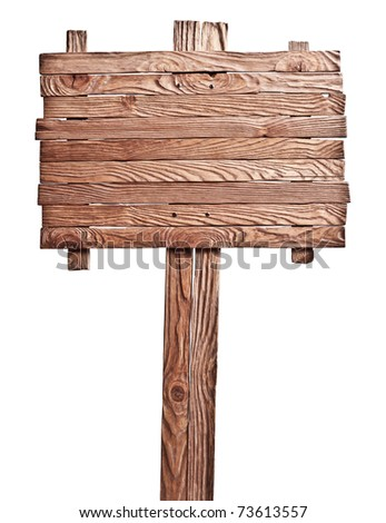Old wooden board on the isolated white background