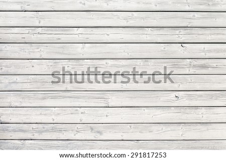 Old wooden board with nails in white, good structure and detail #291817253