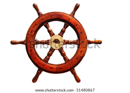 old wooden boat steering wheel isolated on white background