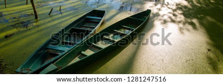 Old wooden boats in the evening on the river bank, rural landscape. Summer season. Sunny day. Web banner.