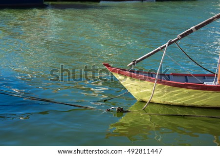 Old Wooden Boats lying in the Port of Grau du Roi en France #492811447