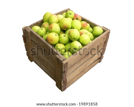 Old wooden box full of apples on white background