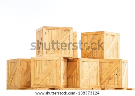 Old Wooden box isolated on white background transport cargo case industrial packaging parcel mail fragile transportation boxed wooden container package logistics storage timber
