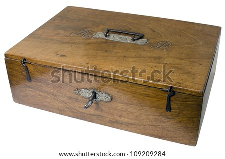 Old wooden box to keep personal objects