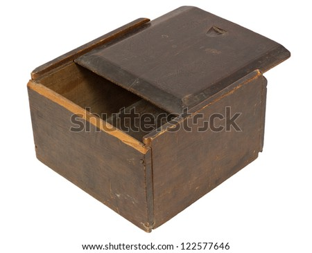 Old wooden box with a sliding lid - isolated on white with clipping path