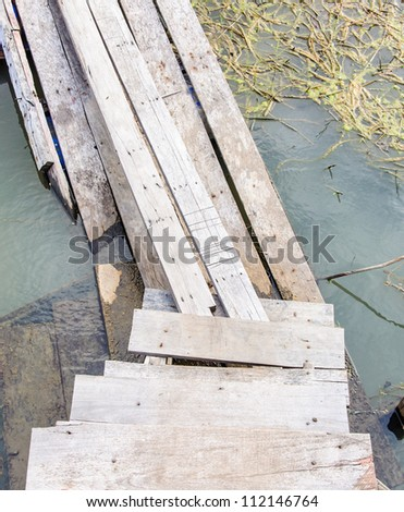 Old Wooden bridge on the lake of natural resort.
