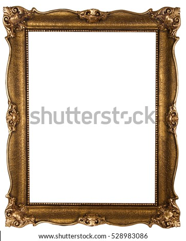 Old wooden bronze color frame isolated on white