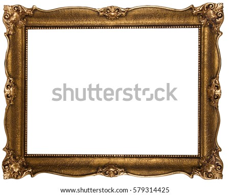Old wooden bronze color frame isolated on white #579314425