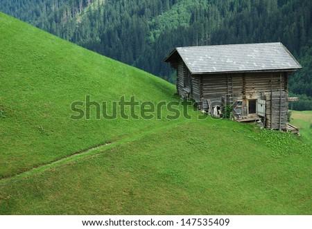 Old wooden building in mountain, Austria,near city of Kufstein