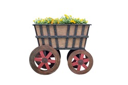 Old wooden car with flowers