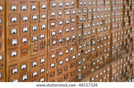 Old wooden card catalogue