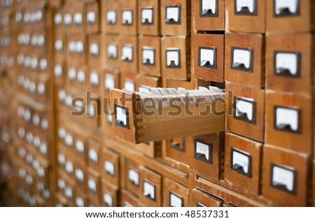 old wooden card catalogue with...