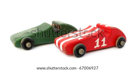 Old wooden cars toys