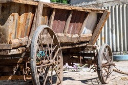 Old wooden cart for horse harness