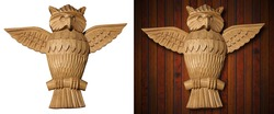 Old wooden carved owl isolated on white and wooden background
