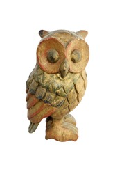 Old wooden carved Owl on white background