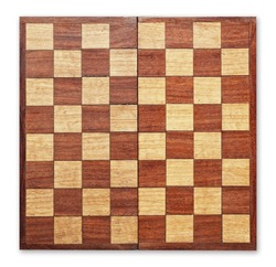 Old wooden chess board isolated, clipping path.