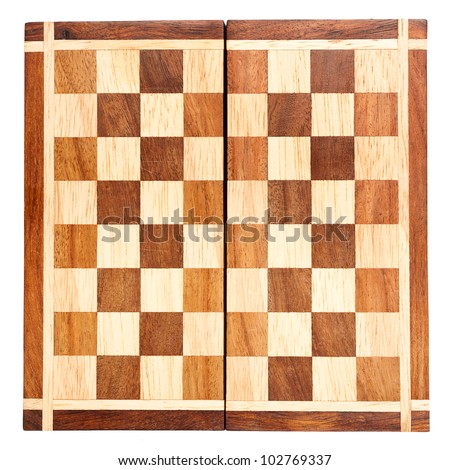 Old wooden chess board isolated on white background