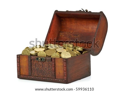 Old wooden chest with golden coins  isolated on the white background - stock photo