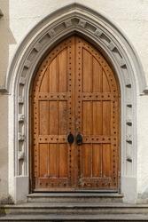 Old wooden church door