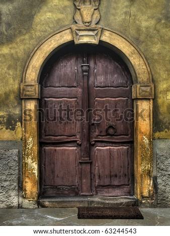old wooden Church Door - HDR