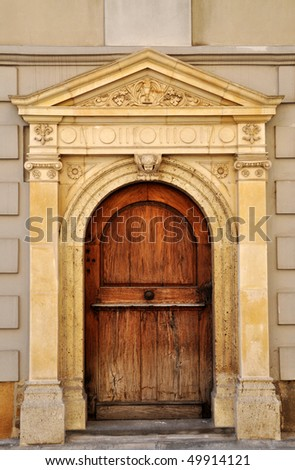 Old wooden church door. Zagreb, Croatia